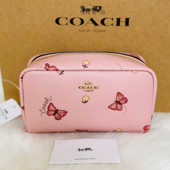 Coach Handbags - 💃COACH SMALL BOXY COSMETIC CASE WITH BUTTERFLY